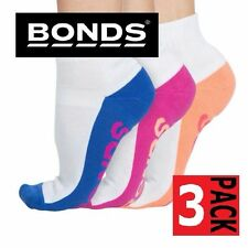 Womens BONDS 3 PACK Pairs Sports Quarter Crew Socks Shoes White Size 3-8 & 8-11
