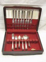 Set National Silver Co Plate Florence Flatware Silverplate 56 pcs svc 8 w/Box