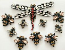Set 10pcs/dragonfly/Bee patch/Rhinestones/Beaded patch/Embroidered Sew on patch