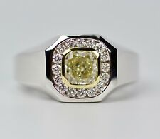 Men's 18k White Gold Yellow Diamond With A Halo Of Round Diamond Ring Size 10.75