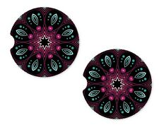 Pink Mandala Rubber Car Coasters For Drinks Absorbent Car Cup Holder   SET OF 2