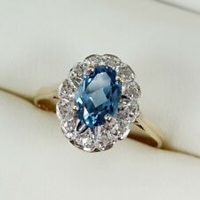 Blue Topaz And Diamond Cluster Ring In 9ct Yellow Gold Finger Size N