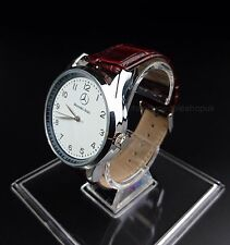 Mercedes Benz Mens Watch Stainless Steel Brown Leather Strap - White Face - UK