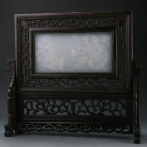 FINE China Wood Inlay Afghanistan Jade Hand Carved Dragon & Phoenix Screen