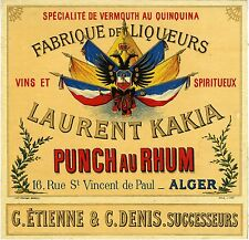 """PUNCH AU RHUM LAURENT KAKIA (ALGER)"" Etiquette-chromo originale fin 1800"