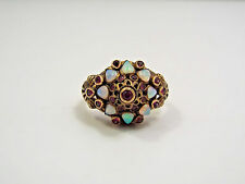 Vintage 14K Yellow Gold Opal & Ruby Princess Harem Pointed Dome Ring, size 4.5