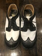 90's Worn Once MENS LONDON UNDERGROUND BLACK WHITE LEATHER CREEPERS SHOES SIZE 6