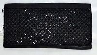 Vintage Hand Made Black Satin Clutch Bag with Beaded Flap Hong Kong