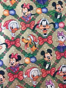 Vintage Disney Christmas Wrapping Paper Gift Wrap 2.5m Roll Gold Mickey Mouse