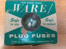 Vintage WARE Top Plug Fuses 15 Amps 125 V, Five in the box Assorted Amps