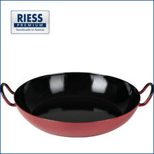 Große Servierpfanne | 30 cm | Wok | Paella | Premium-Emaille | Österreich | Rot