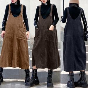 ZANZEA Women Sleeveless Maxi Sundress A-Line Plus Size Corduroy Overalls Dress