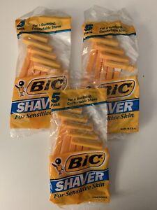 Bic Shaver For Sensitive Skin 5 Pack 1991 Lot Of 3 Packages