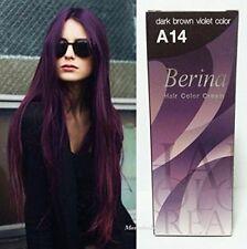 Berina Permanent Hair Dye Color Cream # A14 Dark Brown Violet  Berina