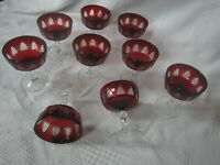 9 Vintage Bohemian Ruby Red Crystal Cut to Clear Wine/Water Stemware