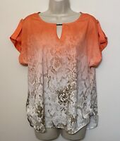 Calvin Klein Medium Blouse Orange Beige Snake Print Short Sleeve Lightweight Top