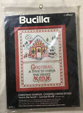 New listing Vtg Bucilla Counted Cross Stitch Sampler 48647 Christmas Warm The Heart Unopened