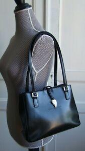 Superbe sac LANCASTER en cuir glacé noir