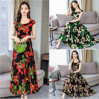 Party Evening Fashion Casual summer Dress Maxi Floral sundress Long V Neck