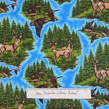 Riverwoods Fabric - Pheasant Deer Buck Scene Blue - Nostalgic Hunt Cotton YARD