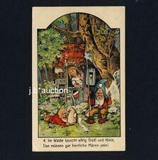 Märchen ZWERGE & EICHHÖRNCHEN / DWARFS & SQUIRREL Fairy Tale * Vintage 1910s PC