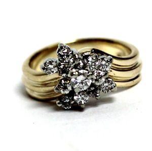 14k yellow gold .60ct SI1 diamond cluster ring 6.9g vintage estate womens ladies