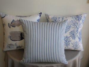 Beach Sea Blue Offwhite Hamptons Ticking Stripe Cushion Covers  45cm Au Made