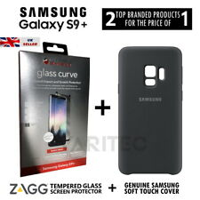 Zagg S9 Plus Glass Screen Protector + Samsung Silicone Cover Case for Galaxy S9+