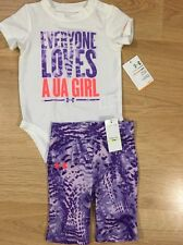 NWT Under Armour Outfit Baby Toddler Size 3/6 Months White Purple