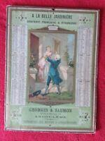 Carton publicitaire calendrier 1886/DRAPERIE A LA BELLE JARDINIERE/22x31