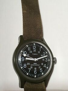 Timex Manual Wind Watch - Green Case & Band - Black Dial - Luminous Hands