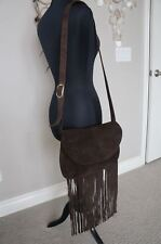 0fa65870f7b NEW JJ Winters Brown Suede Mazie Fringe Medium Crossbody Shoulder Bag Hobo  Purse