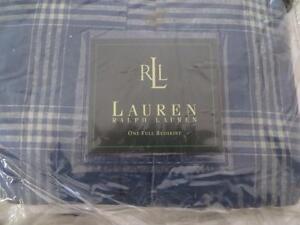 Ralph Lauren Americana Plaid Blue Full Bedskirt New