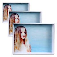 3 Bilderrahmen aus Kunststoff: 11 x 16 cm + 13,5 x 18,5 cm + 16 x 21 cm in weiss