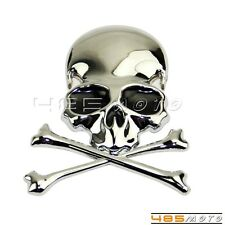 Auto Trunk Motorcycle 3D Skull Cross Bones Logo Emblem Sticker Decal Real Metal