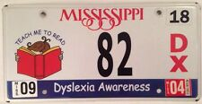 DYSLEXIA Awareness license plate  Ribbon Reading Spelling Teach Me To Read Spell