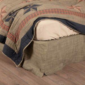 Viincent King Box Pleat Bed Skirt 78x80x16 Greenish Khaki Farmhouse Country