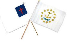 "12x18 12""x18"" Wholesale Combo Christ Christian State Rhode Island Stick Flag"