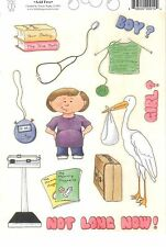 PREGNANCY Sticker Sheet GIANT 6x9 BABY Boy or Girl PHRASES Stork Scale Suitcase