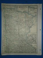 Old Vintage Circa 1942 MINNESOTA MAP + County, Trunk Highways, Index & Fact Page