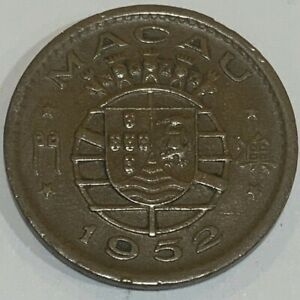 1952 Portuguese Macau (China) 10 Avos Coin