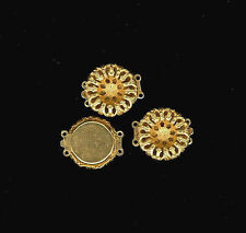 2 - 24K Gold Plate Filigree 2 Strand Clasps To Match Haskell Stampings 19mm #918