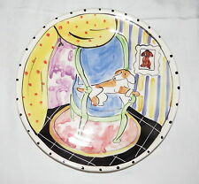 """Saks Fifth Avenue 11.1/4"""" Plate Platter Dog on a Chair with """"Chair"""" Mark Frank11"""