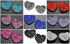 10 Pcs half drill 12mm Rhinestone Crystal Clay Pave Heart Beads for Shamballa