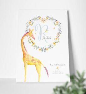 Personalised Initial Letter Print Giraffe New Baby Birth Girls Nursery Canvas