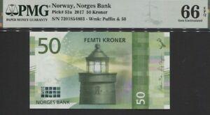 TT PK 53a 2017 NORWAY NORGES BANK 50 KRONER PMG 66 EPQ STUNNING GEM UNCIRCULATED