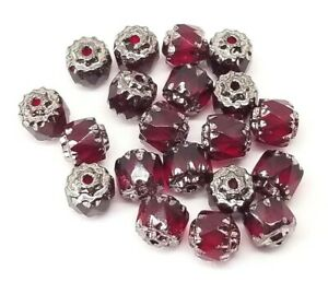 6mm Czech Red Cathedral Glass Beads Dark Silver Accent - 2 x 20pk