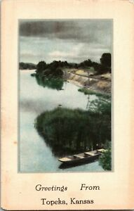 Rowboat on Lake Greetings from Topeka KS Sample Postcard W35