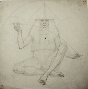 Kathleen Pearson (1898-1961) pencil drawing of mystical figure within a circle