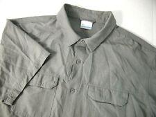 Columbia Mens Shirt XL Grey Hiking Nylon Fishing Outdoors Short Sleeve Button